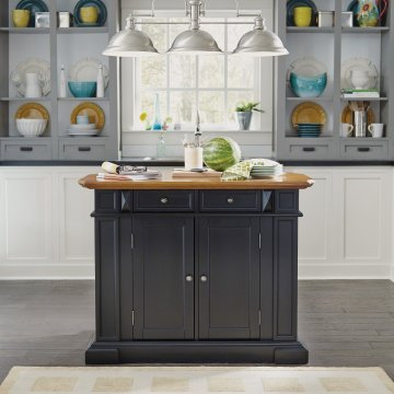 Americana Kitchen Island Black And Distressed Oak Finish