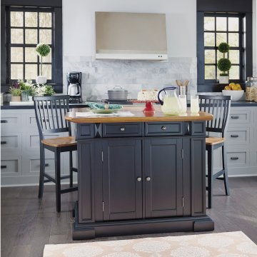 Americana Kitchen Island And Stools Black And Distressed Oak