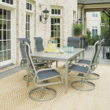 South Beach 7 Pc Rectangular Outdoor Dining Table With 6 Swivel Rocking Chairs