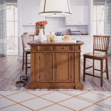 Americana Kitchen Island And Stools Distressed Oak