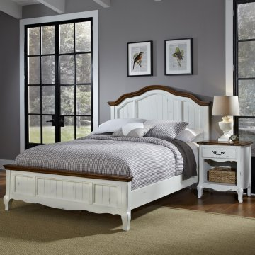 The French Countryside Queen Bed And Nightstand