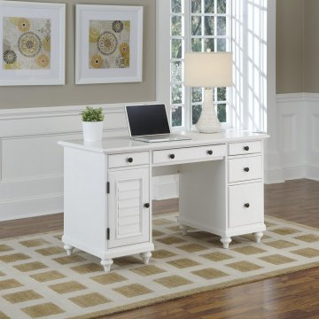 Merveilleux Bermuda Brushed White Pedestal Desk