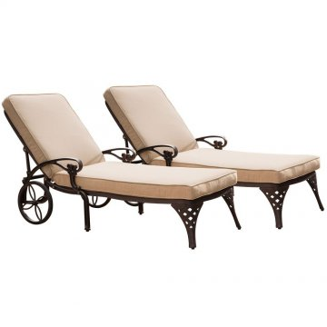Superior Biscayne Bronze Chaise Lounge Chairs (2) Taupe Cushions