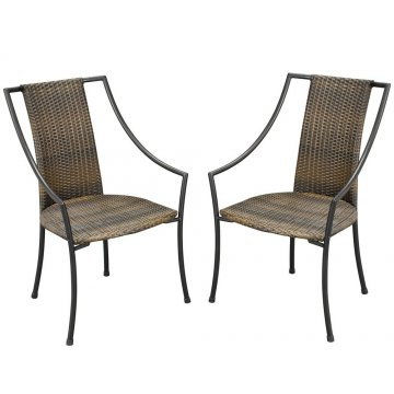 Laguna Synthetic Weave Arm Chairs Pair