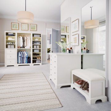 Naples 3 Pc Closet Wall Unit With 30 Inch Storage Island And Bench