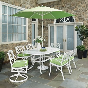 Biscayne White Oval 9 Pc Outdoor Dining Table 4 Arm Chairs 2 Swivel Rocking With Cushions Umbrella Base