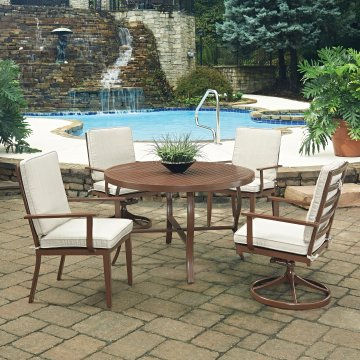 Key West 5 Pc. Round Outdoor Dining Table With 2 Swivel Rocking Chairsu0026 2  Arm Chairs