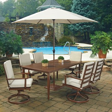 Key West 9 Pc. Rectangular Outdoor Dining Table; 6 Swivel Rocking Chairs  With Umbrella U0026 Base