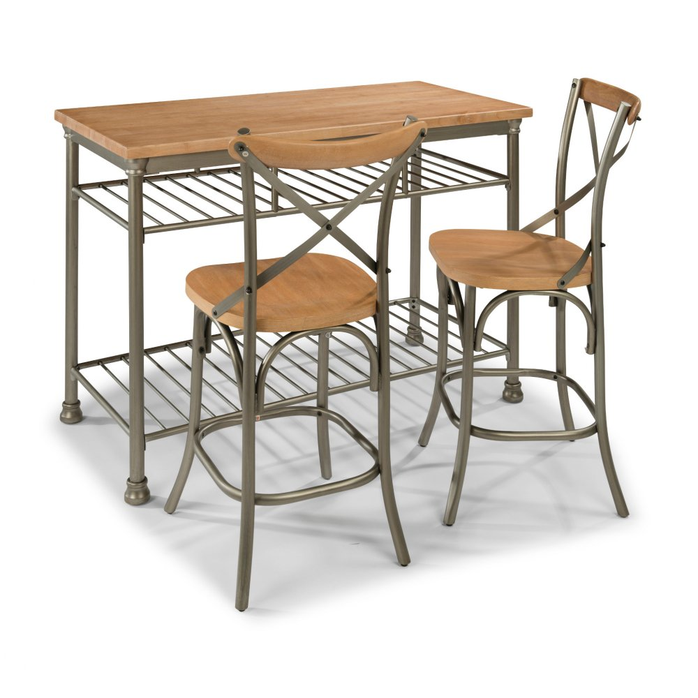 French Quarter Kitchen Island with 2 Stools 5064-948