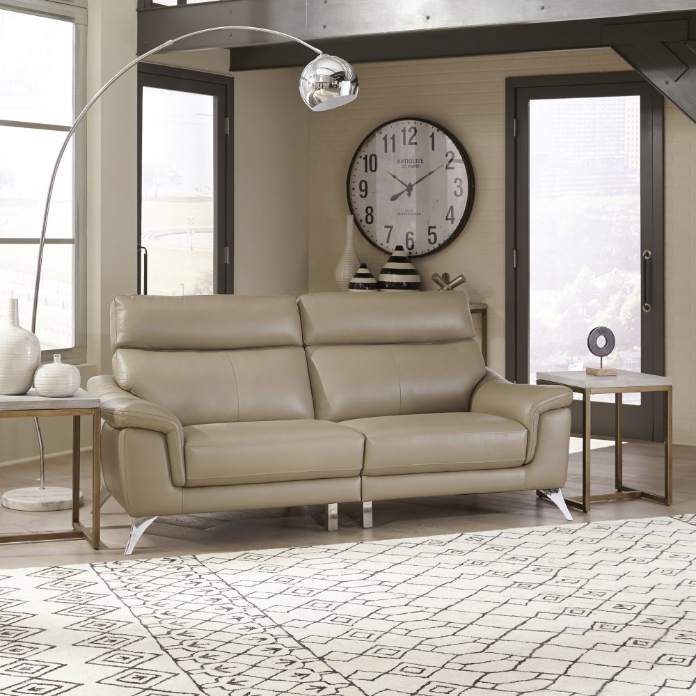 Moderno Leather Contemporary Upholstered 3 Pc. Chaise Sofa Group 5230-6150