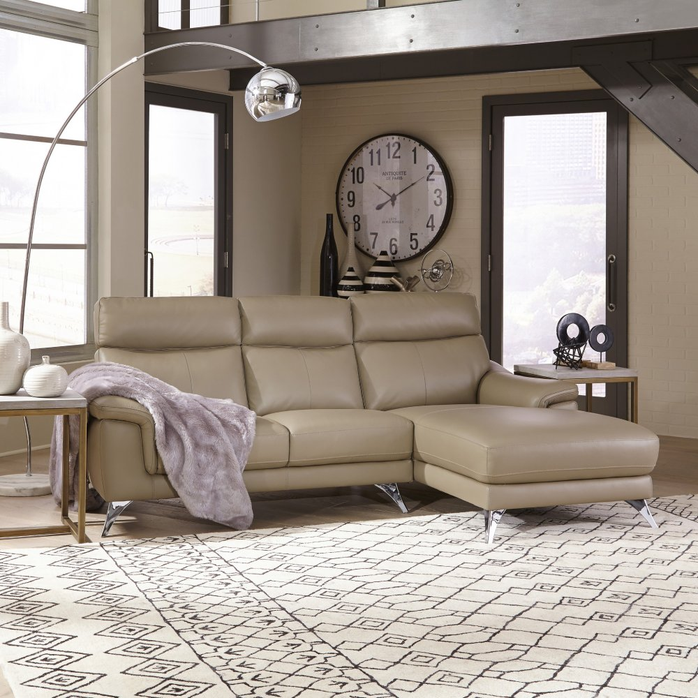 Moderno Leather Contemporary Upholstered Chaise Sofa & Chair 5230-615