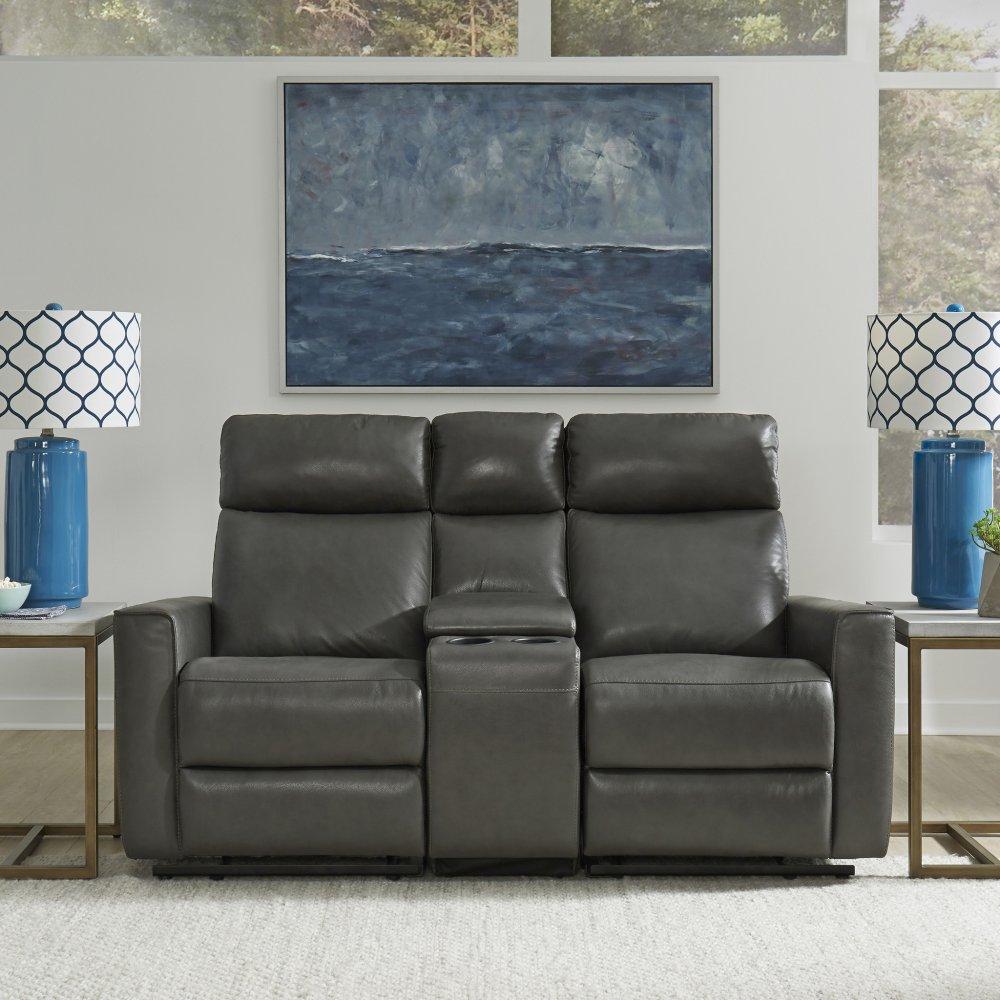 Nuovo Leather Power 3 Pc. Motion Reclining Sofa; Console Love Seat; & Recliner 5320-6250