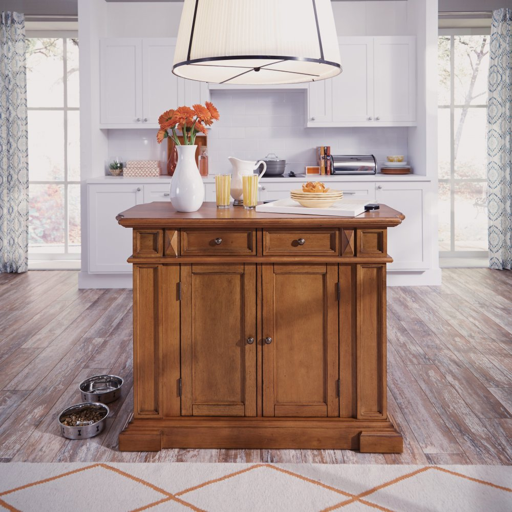 Americana Kitchen Island Distressed Oak Finish Home Styles