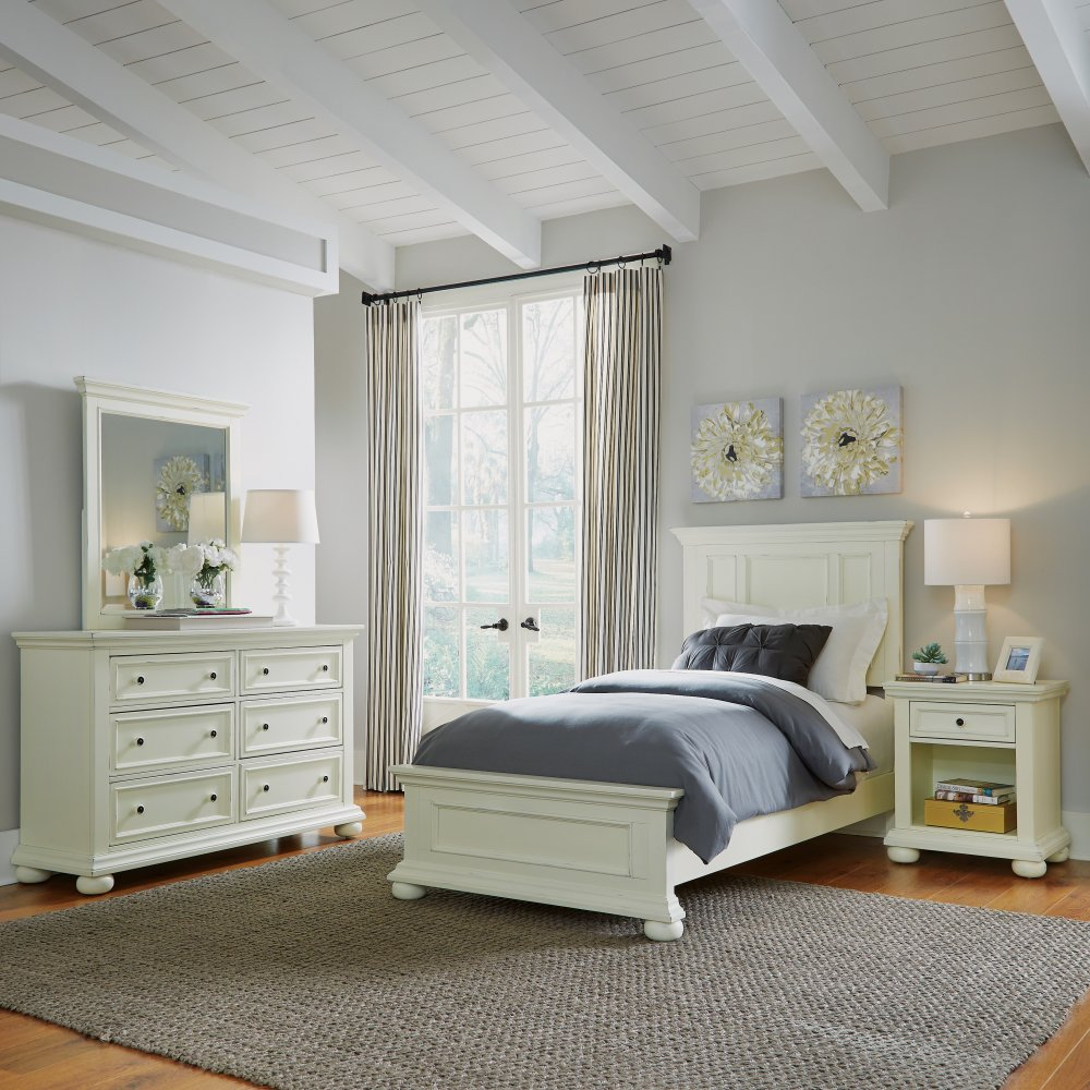Dover Twin Bed, Night Stand, and Dresser with Mirror Set 5427-4023