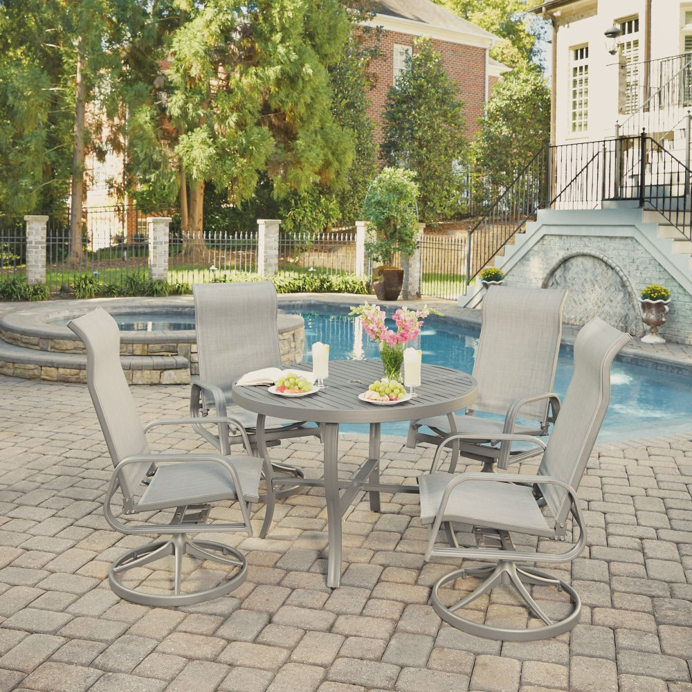 5702-3055 Daytona Five Piece 42 Inch Round Outdoor Dining Table and Four Swivel Rocking Chairs