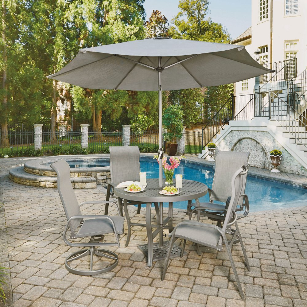 ... 5702 30156 Daytona Seven Piece 42 Inch Round Outdoor Dining Table With  Two Sling Arm ...