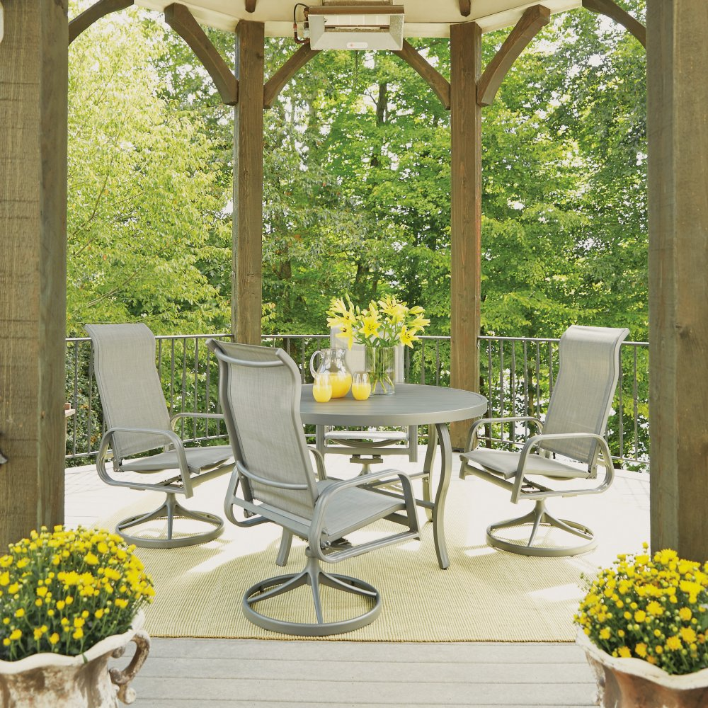 Daytona 5 Pc 48 Inch Round Outdoor Dining Table With 4 Swivel