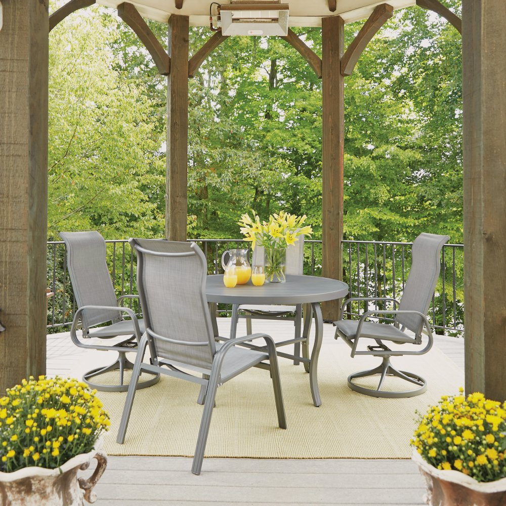 5702-3215 Daytona Five Piece 48 Inch Round Outdoor Dining Table with Two Swivel Rocking Chairs and Two Sling Arm Chairs