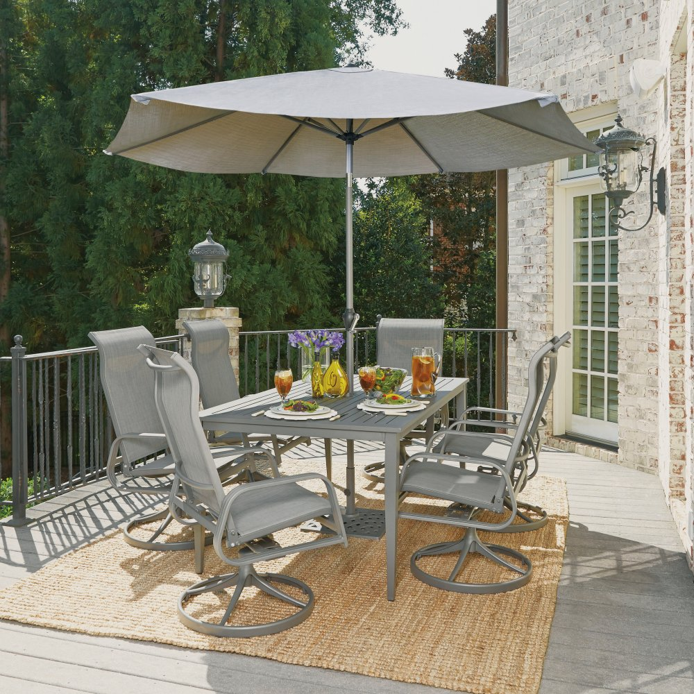 5702-3156 Daytona Nine Piece Rectangular Outdoor Dining Table with Six Swivel Rocking Chairs, Umbrella and Base