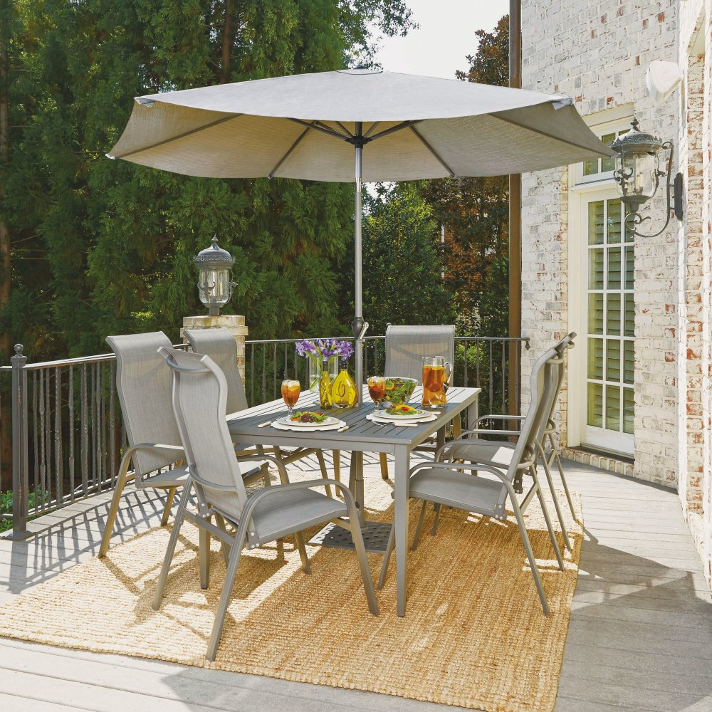 5702-3116 Daytona Nine Piece Rectangular Outdoor Dining Table with Six Sling Arm Chairs, Umbrella and Base