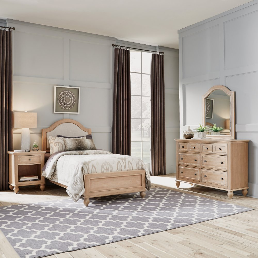 Cambridge Twin Bed, Night Stand and Dresser with Mirror Set 5170-4023