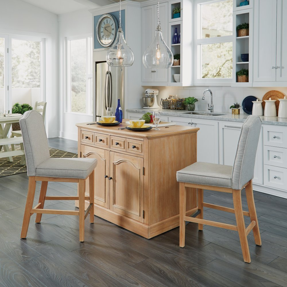 Cambridge Kitchen Island with Two Counter Stools | Homestyles