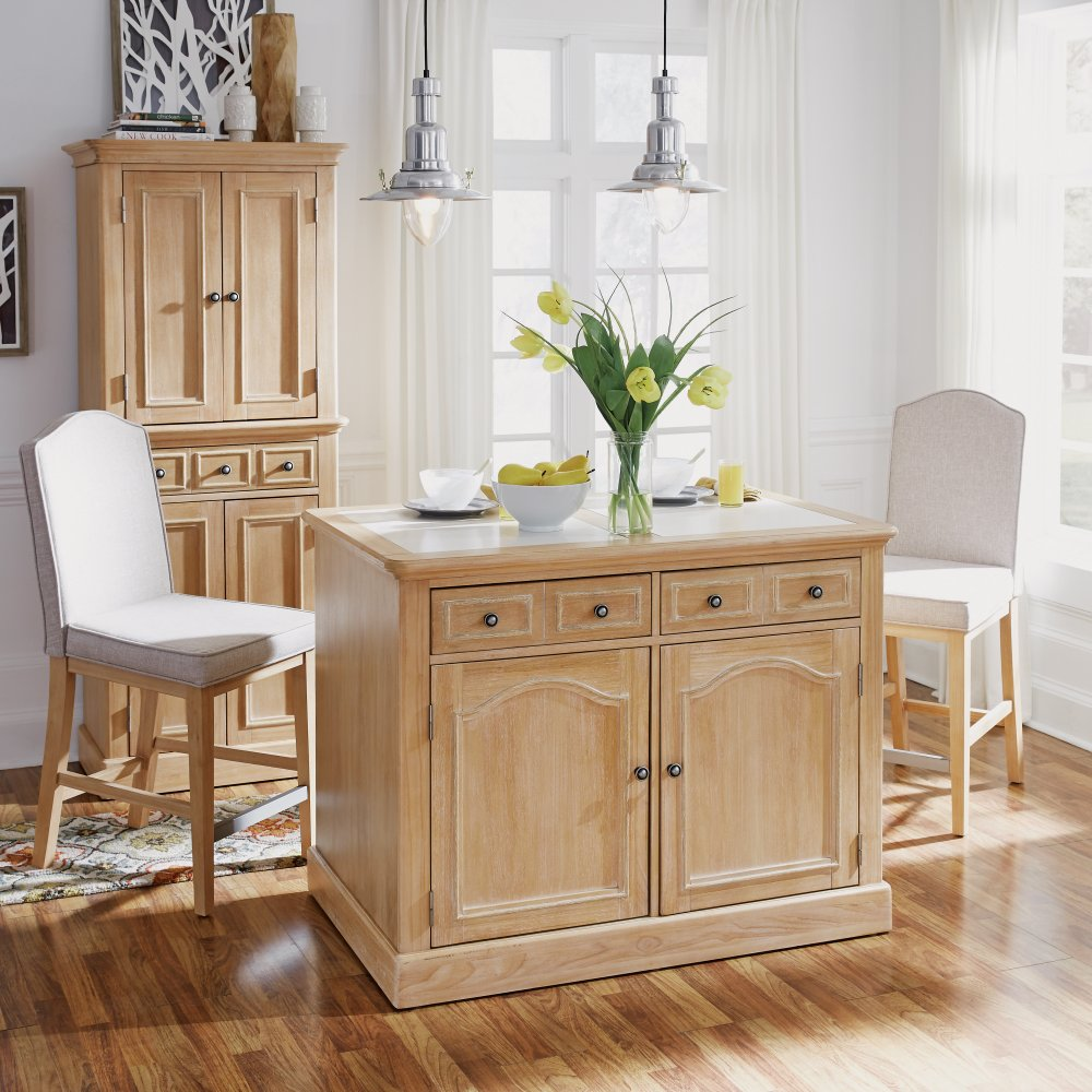 Cambridge Kitchen Island with Quartz Top and Two Counter Stools 5170-948Q