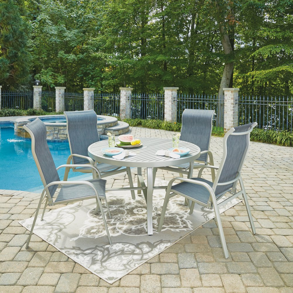 South Beach Pairs of Sling Arm Chairs 5700-812 shown with South Beach Outdoor Table 5700-32