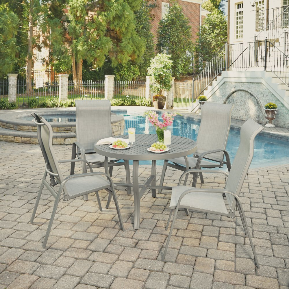 5702-3081 Daytona Five Piece 42 Inch Round Outdoor Dining Table and Four Sling Arm Chairs