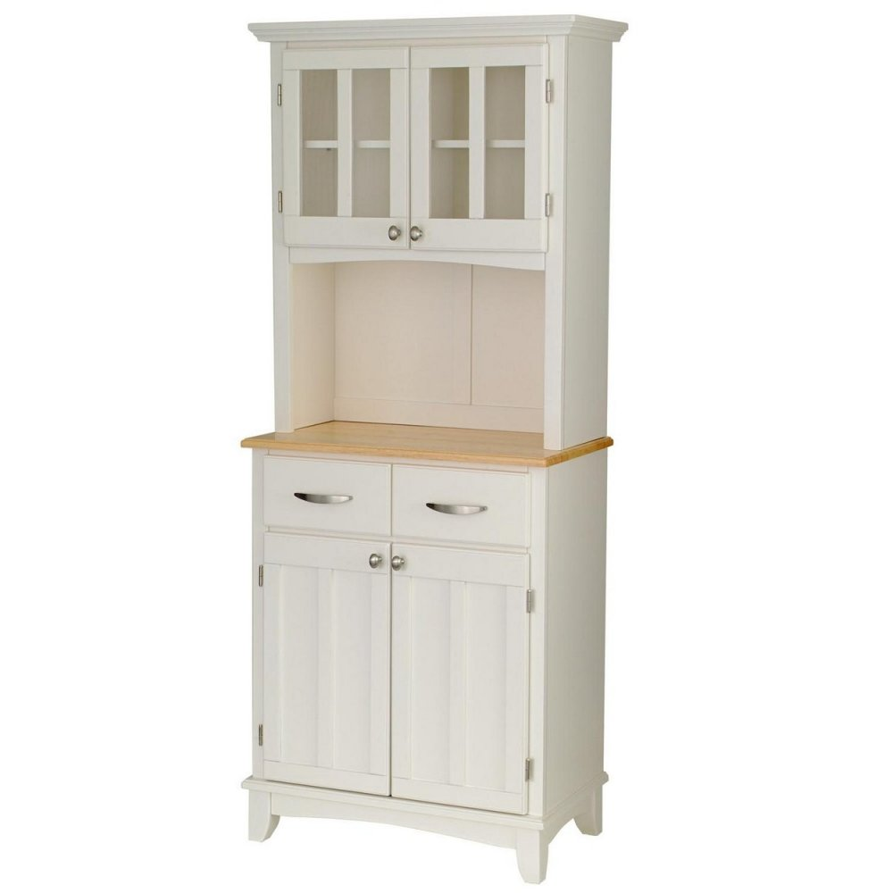 White Kitchen Hutch: Buffet With Wood Top And Hutch White Finish
