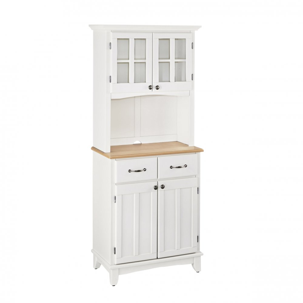 Buffet With Wood Top And Hutch White Finish Home Styles
