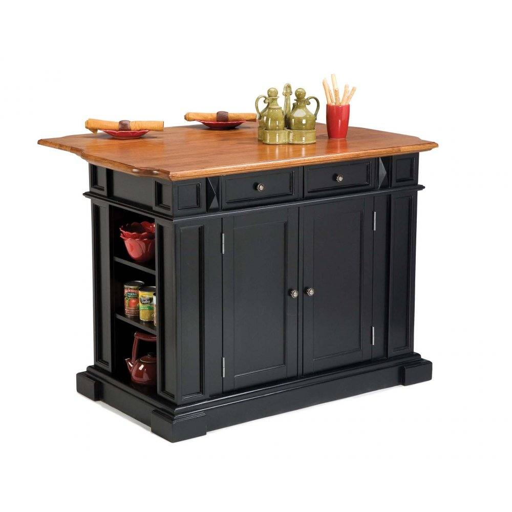 Kitchen Island Black and Distressed Oak  Homestyles