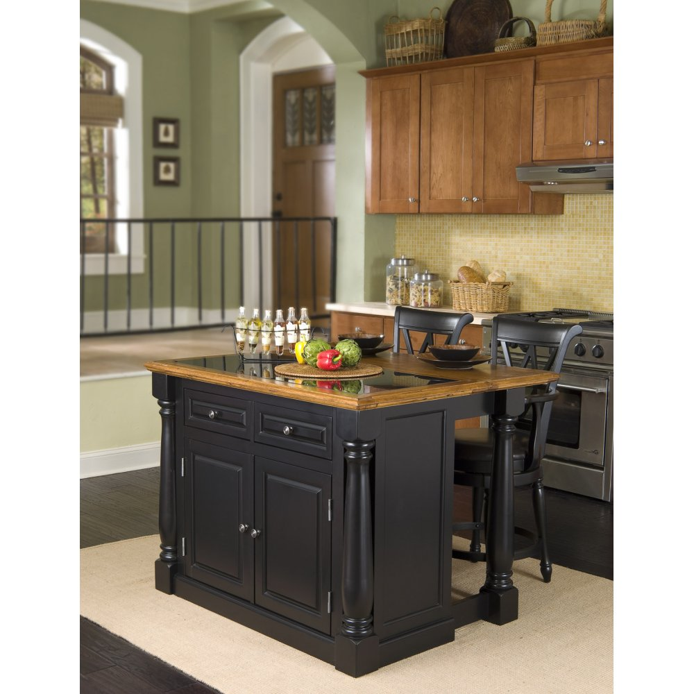 Monarch Black And Distressed Oak Island Granite Top Homestyles