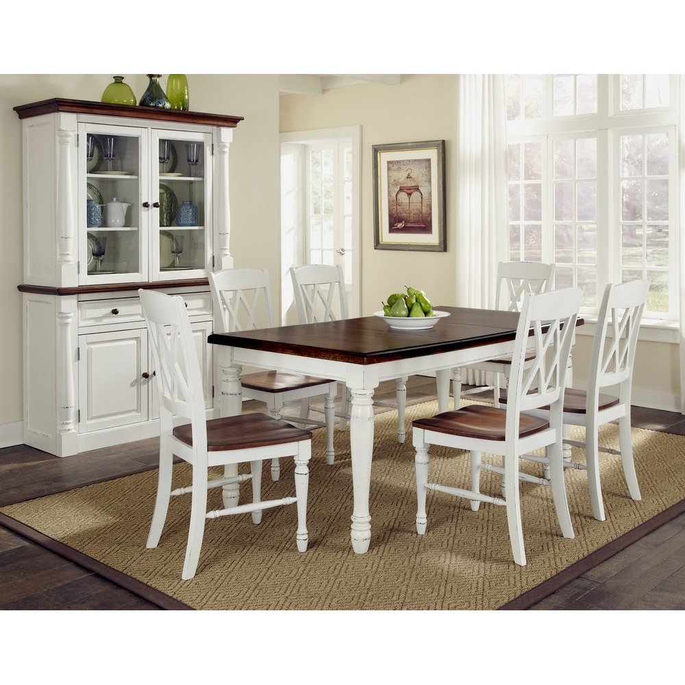 Monarch Rectangular Dining Table and Six Double X-back ...