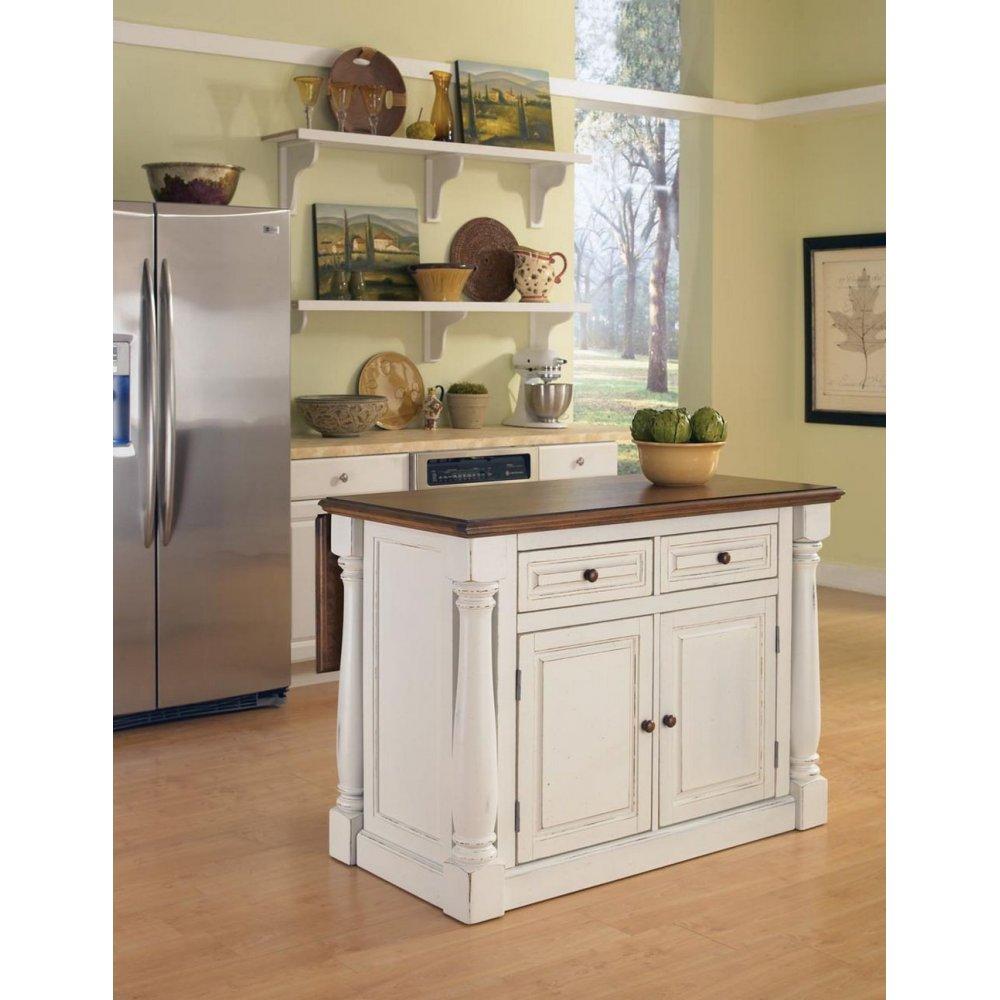 Monarch Antiqued White Kitchen Island   Home Styles