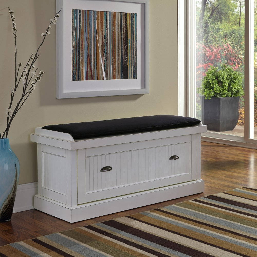 Nantucket Distressed White Upholstered Bench | Homestyles