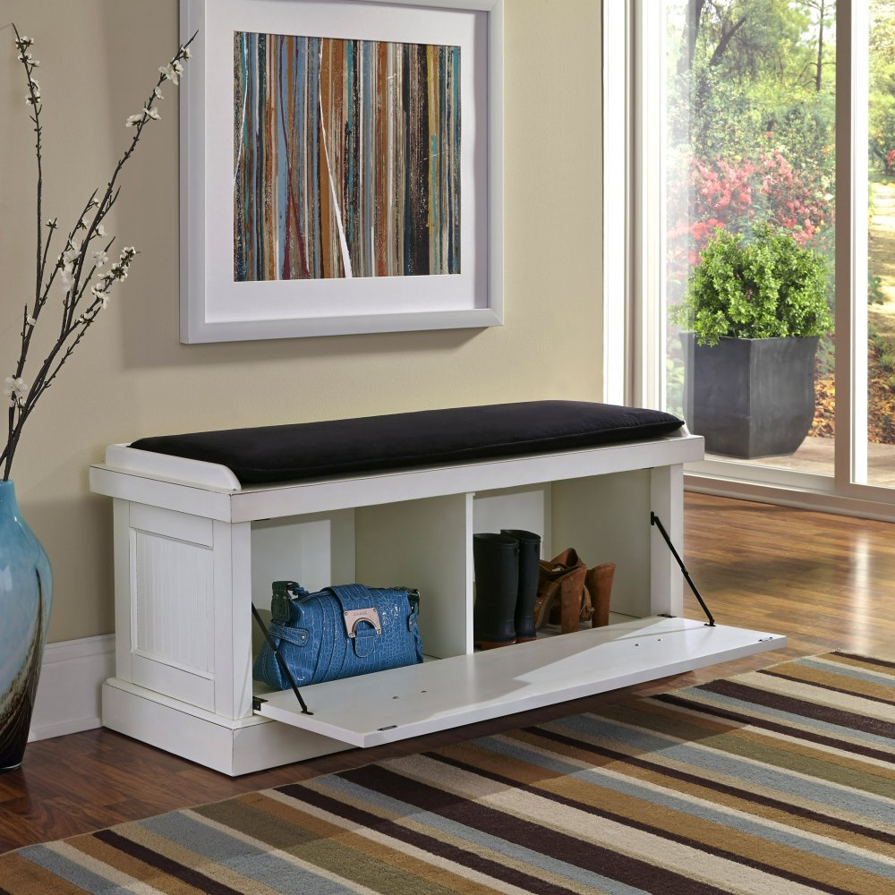 Cozy Homestyles: Nantucket Distressed White Upholstered Bench