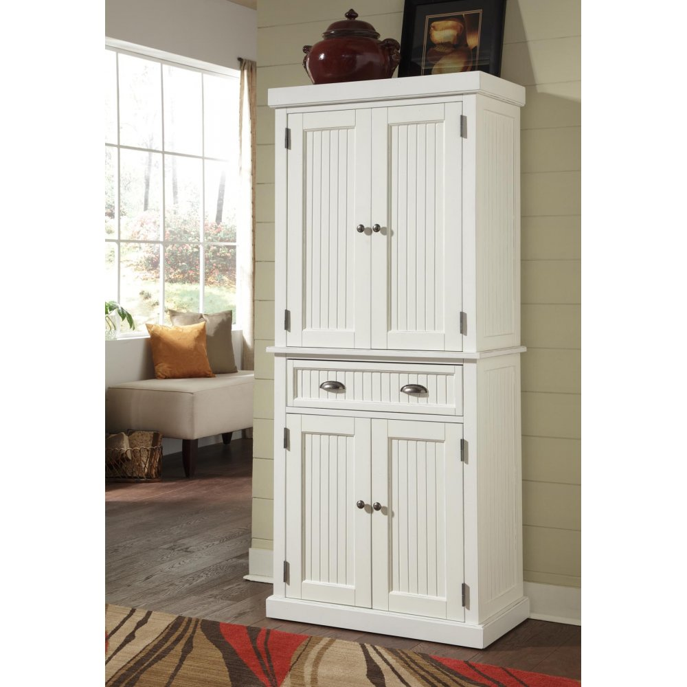 Portable Kitchen Pantry Furniture Nantucket Pantry White Distressed Finish Homestyles