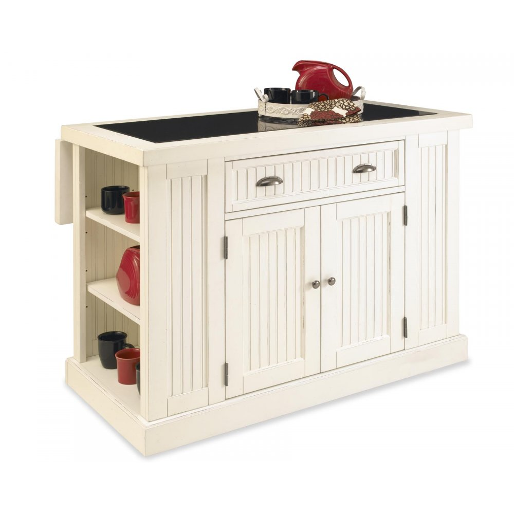 Nantucket Kitchen Island Distressed White Finish