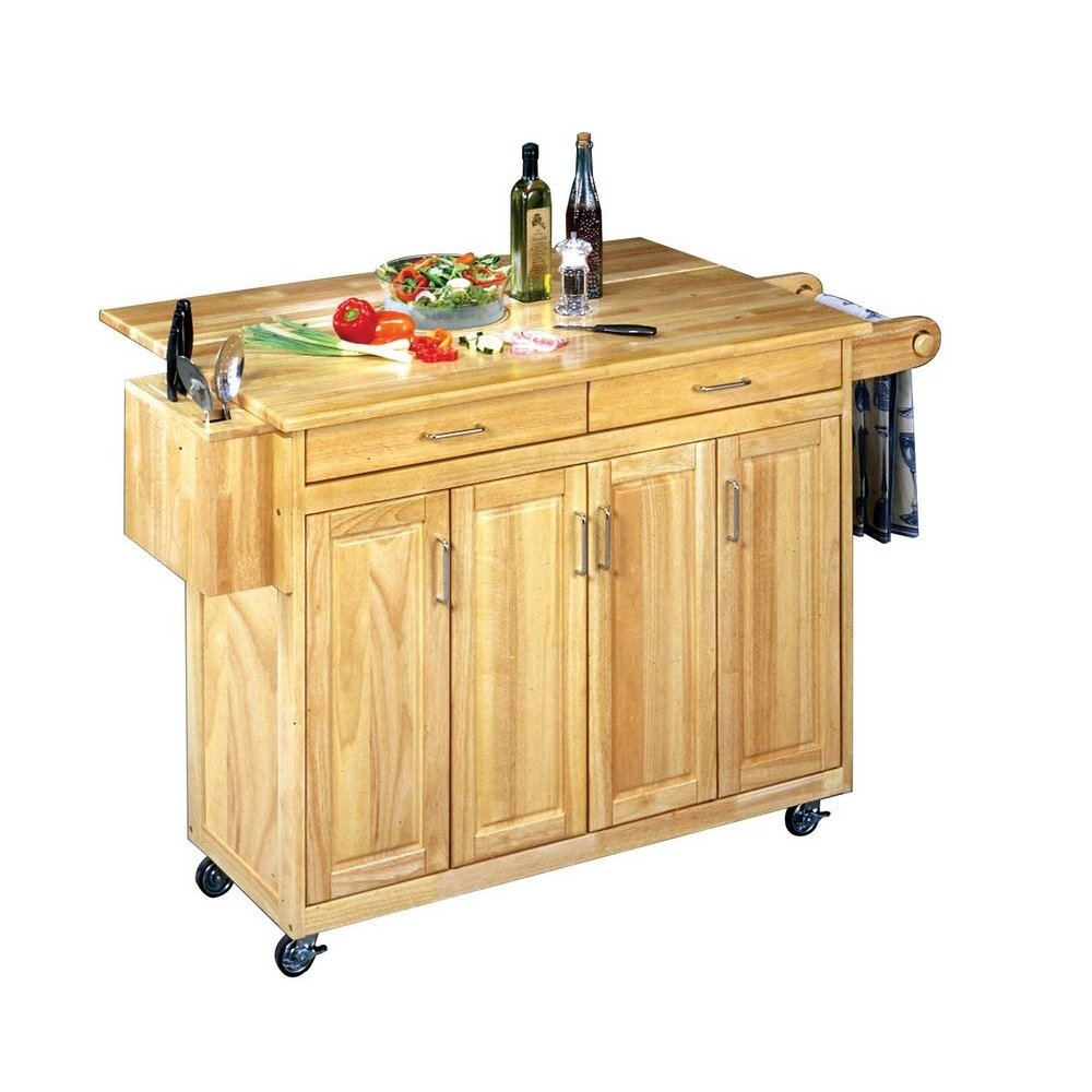 Wonderful Natural Breakfast Bar Kitchen Cart With Wood Top