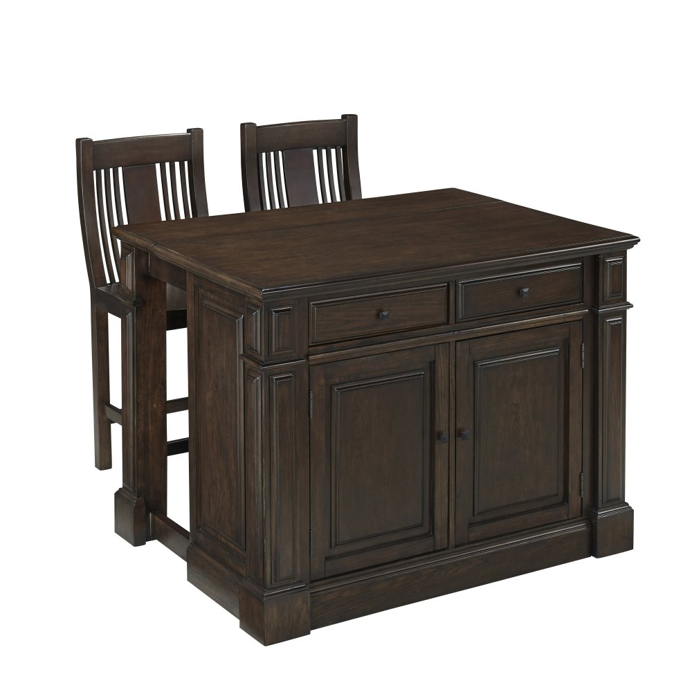 prairie home kitchen island and two stools homestyles americana black kitchen island homestyles