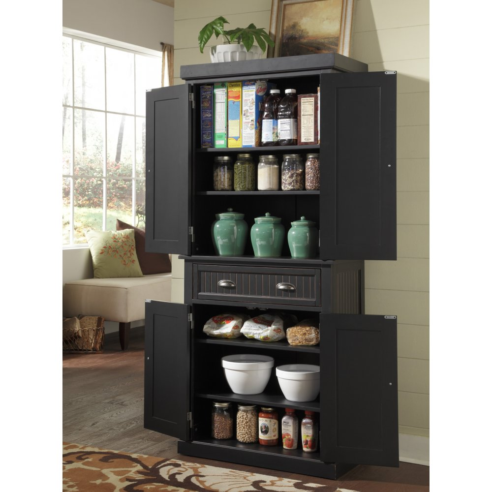 25 Great Pantry Design Ideas For Your Home: Nantucket Pantry Black Distressed Finish