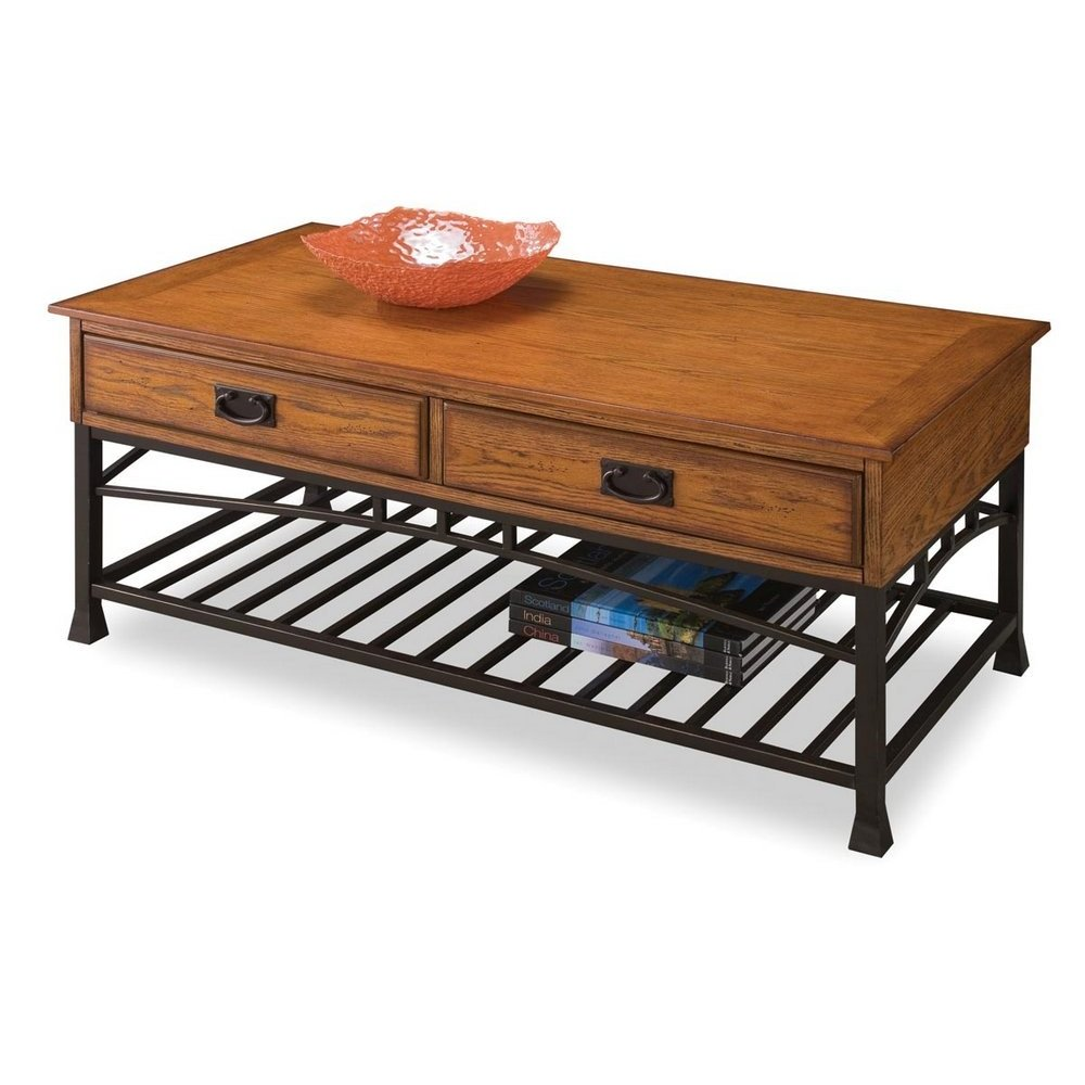 Modern craftsman distressed oak coffee table homestyles geotapseo Image collections