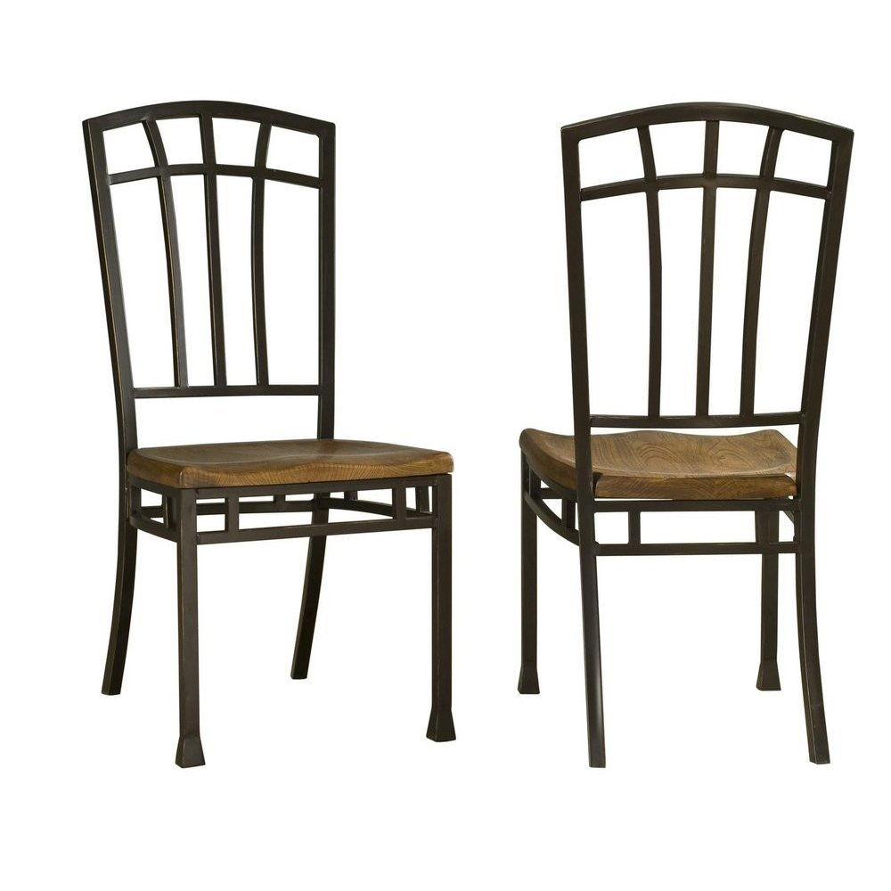 Oak Hill Distressed Oak Dining Chairs Pair