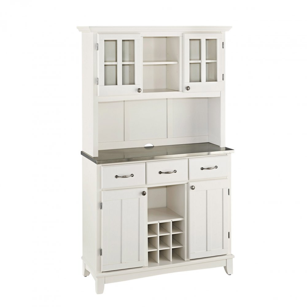 Buffet With Stainless Top And Hutch White Finish Home Styles