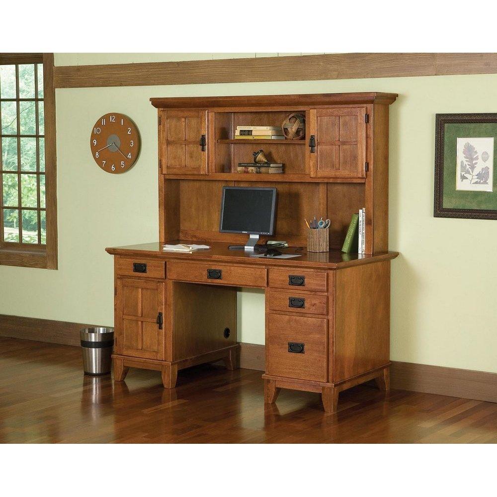 Arts & Crafts Pedestal Desk and Hutch Cottage Oak Finish | Homestyles