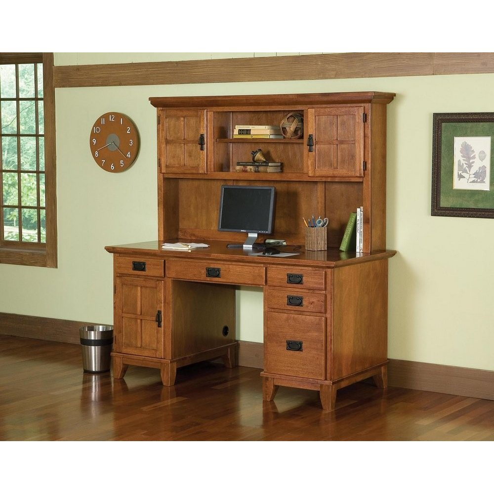 Arts Crafts Pedestal Desk And Hutch Cottage Oak Finish Homestyles