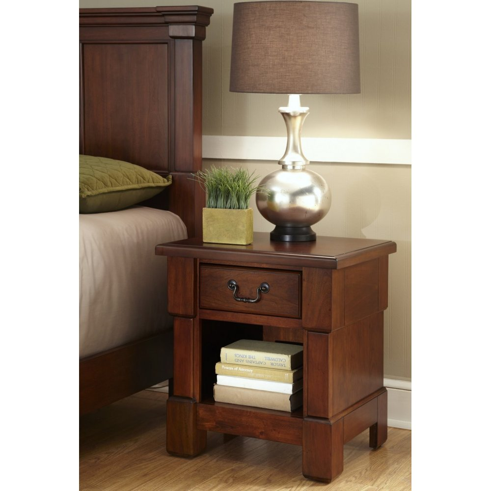 Shop Home Styles Aspen Rustic Cherry King Bedroom Set At: The Aspen Collection Nightstand