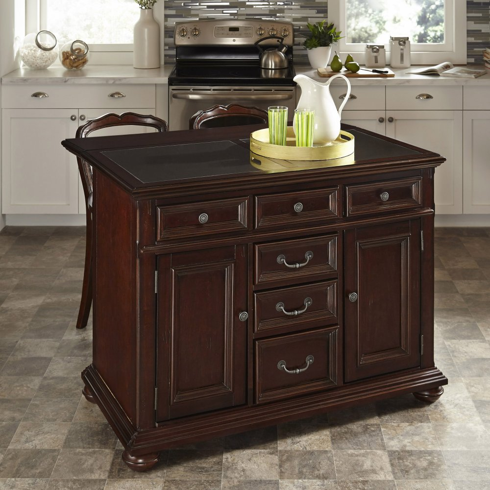 Kitchen Classical Colonial Kitchen Design With Island For: Colonial Classic Kitchen Island W/ Granite Top And Two