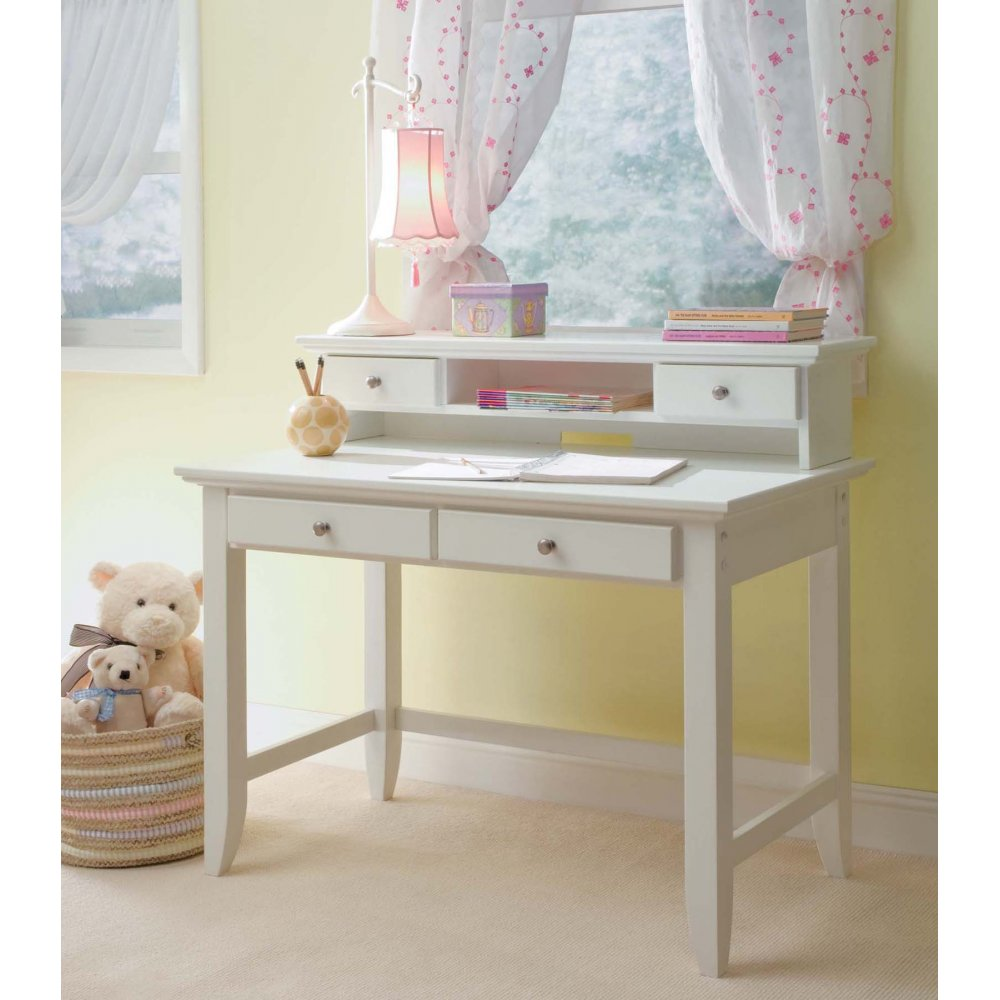 White Desk With Hutch Naples Student And